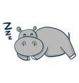 cartoon a sleeping grey hippo on white vector image vector image