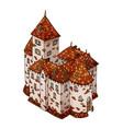 cartoon medieval european knight castle stone vector image