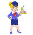 cartoon stewardess vector image vector image