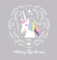 christmas card with unicorn vector image vector image