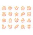 christmas gingerbread simple line icons set vector image vector image