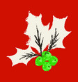 christmas holly icon symbol vector image vector image