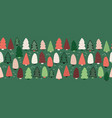 christmas trees border seamless pattern vector image vector image