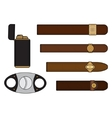 Cigar smoker set vector image vector image
