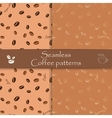 Collection of seamless patterns Coffee vector image vector image