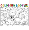 coloring book cow near farm theme 3 vector image vector image