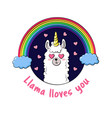 cute cartoon lama doodle vector image vector image