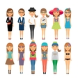 Cutie cartoon fashion girls in colorful clothes vector image vector image