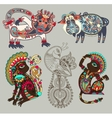 decorative ethnic folk animals and bird in vector image