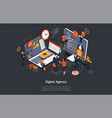 digital agency concept a team people builds vector image vector image