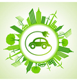 Eco cityscape with electric car vector image vector image