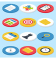 Flat Business Isometric Circle Icons Set vector image