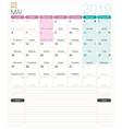 french calendar - may 2019 vector image vector image