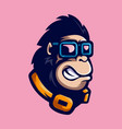 gorilla with glasses vector image