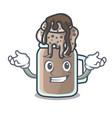 grinning milkshake character cartoon style vector image vector image