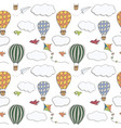 hand drawn seamless pattern hot air baloons vector image vector image