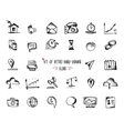 Hand-drawn sketch web icon set - economy finance vector image vector image