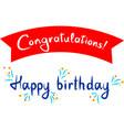 handwritten words happy birthday and vector image