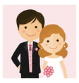 happy just married on their wedding day and pink vector image vector image