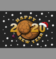 happy new year 2020 and handball ball vector image vector image