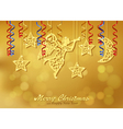 Holiday gold background with figures of angel vector image