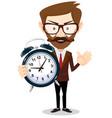 human with alarm clock vector image vector image