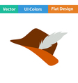 Icon of hunter hat with feather vector image
