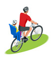 isometric family biking young father safety vector image