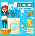laundry and cleaning service poster vector image