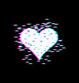 love heart glitch effect for valentines day vector image