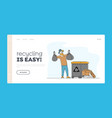 man at household activities landing page template vector image