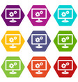 monitor settings icon set color hexahedron vector image vector image
