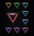 neon light color set shining rounded triangle vector image vector image