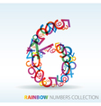 rainbow number six vector image vector image
