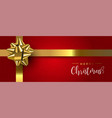 red christmas gift web banner with gold ribbon vector image vector image