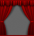 red stage curtain theatre curtains on transparent vector image