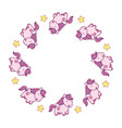 round frame with cute kawaii style horses and vector image