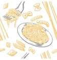 Seamless pattern set pasta Farfalle conchiglie vector image