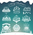 set christmas decoration typography tag vector image vector image
