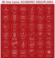 Set of academic disciplines icons vector image vector image
