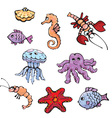 set of cartoon fish shell seahorse craw fish vector image