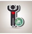 silhouette person heart wheelchair vector image vector image