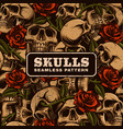 skull with roses seamless pattern vector image vector image