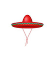 sombrero hat in red design vector image vector image