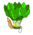 student vegetable spinach on a cartoon plate vector image