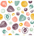 Summer berry seamless pattern hand drawn berries
