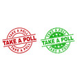 take a poll round stamp seals with rubber style vector image vector image