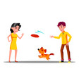 teenager playing with dog in park isolated vector image