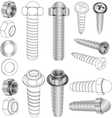 The complete set bolts and nuts vector image