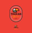 toucan logo coffee beans label emblem vector image vector image